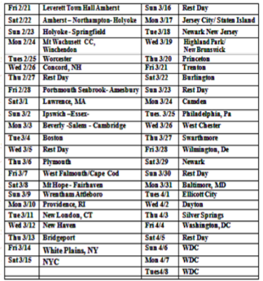 Tentative walk schedule, subject to change Join the Walk when we come through your community!
